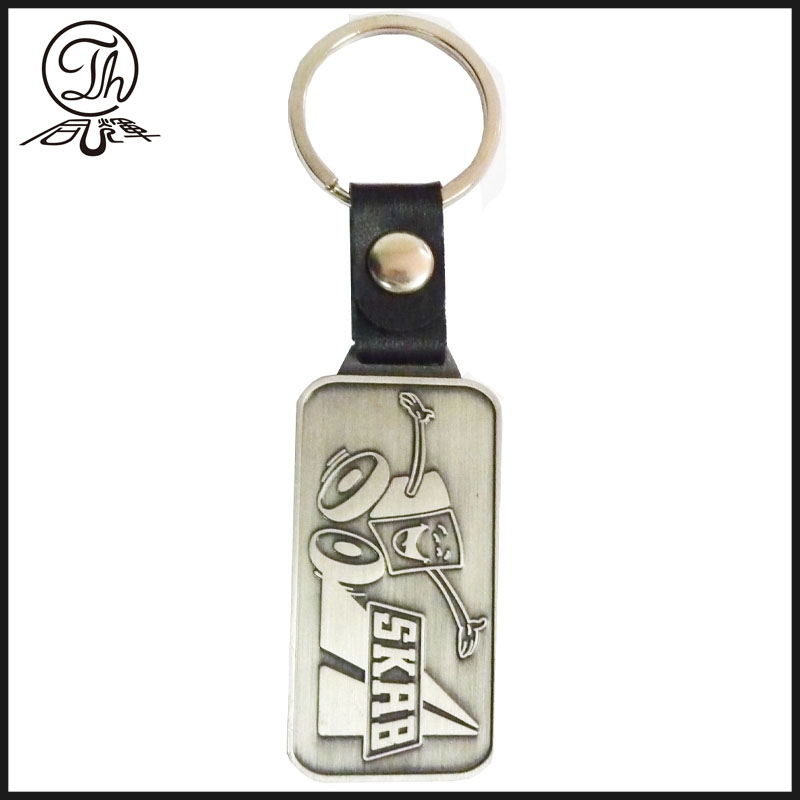 Customized antique metal leather keychain