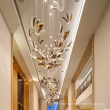 Custom hall artistic hanging petaloid crystal pendant light