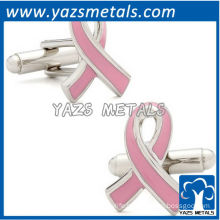 Pink awareness ribbon cufflinks, customize high quality metal cufflink crafts