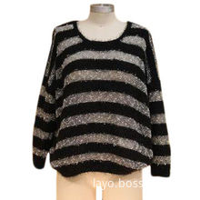 Women's Sweater, Made of Nylon and Polyester, Fashionable Pullover Design