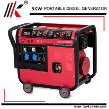 5kw generador de mortero monofásico 5 kw conjunto, generador diesel refrigerado por aire 5kw, generadores diesel portátiles silenciosos