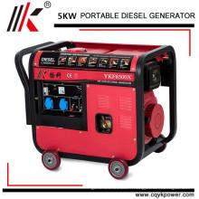 Générateur de mortaise monophasé de 5kw 5 kw, générateur diesel refroidi par air 5kw, générateurs diesel portatifs silencieux