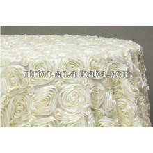 soberba quente-vende original redondo toalha de mesa de tecido de cetim Roseta para casamento