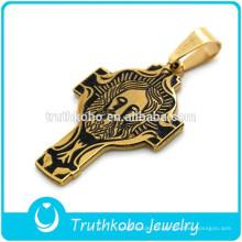 Perfeito A Vácuo Banhado A Ouro de Aço Inoxidável Católica Significado Significado Colar San Benito Cruz Pingente