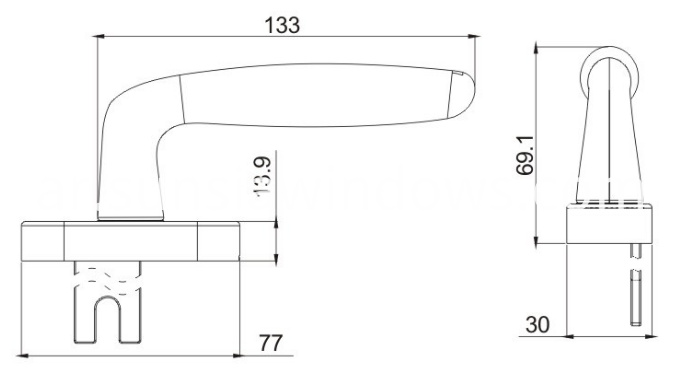 succinct side-hung window sliding door fork handle drawing