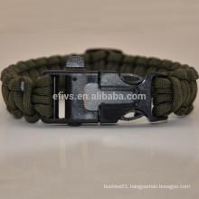 2015 survival kit fire starter whistle buckle paracord bracelet