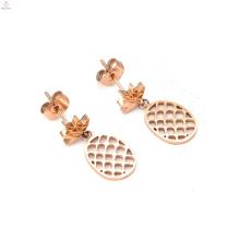 Boucles d'oreilles ananas en or rose et acier inoxydable 316L