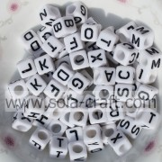 Acrylic Square White Face and Black Letter Big Diameter Hole Beads