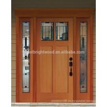 Cristales de diseño con 2 laterales de madera puerta caoba