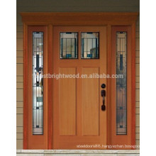 Mahogany Wooden Front Door Design With 2 Side lites