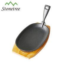 Bandeja de madeira de ferro fundido Oval Fajita Platter Fajita Skillet