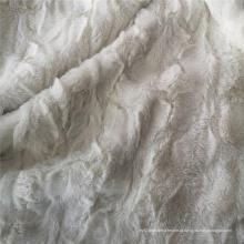 Tecido de lã de pelúcia em Pv com relevo branco e poliéster