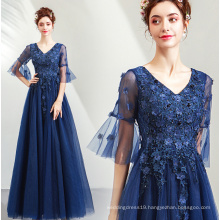 2019 Spring New Navy Blue Sexy V neck Half sleeve Evening Gowns Sequined Tulle Long Evening Party Dresses