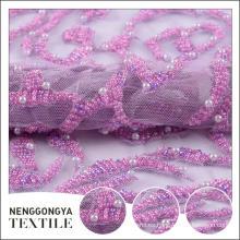 Diseño personalizado hermoso tejido nupcial bordado de malla con perlas