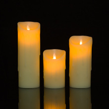 Big size real paraffin wax LED pillar candle