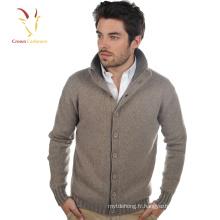 Manteau épais de cardigan de cachemire des hommes avec des boutons pour l'hiver