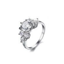 Bague en pierre de mariage en acier inoxydable populaire, bague de fiançailles personnalisée