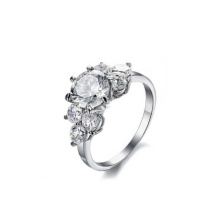 Anel de pedra grande do casamento de aço inoxidável popular, anel de noivado feito sob encomenda