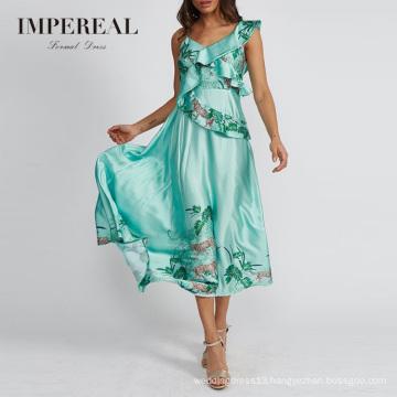 Frill Embellished Summer Satin Midi Women Rayon Tiger Print Dress