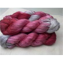 100% Mulberry tingido fio de seda para tricô de mão
