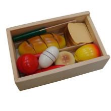 Crianças Velcro de madeira de corte de pão de brinquedo