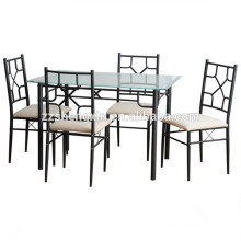 Metal Glass Dining Table And Chair Set