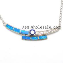 Collar plata de ley 925 de joyería de ópalo (YN00014)