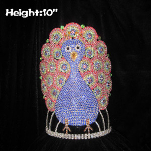 Coronas de concurso de pavo real personalizadas de 10 pulgadas de altura
