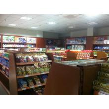 Présentoir en bois de supermarché