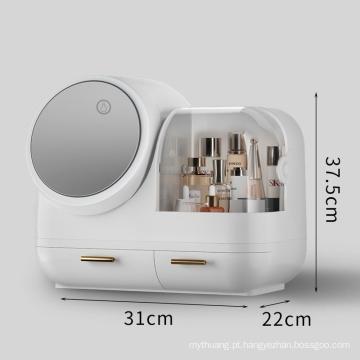 Caixa de armazenamento de cosméticos com espelho giratório iluminado 360 °