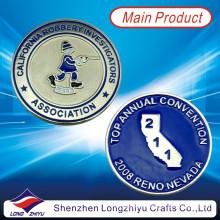 Lembrança Moedas Custom Material de liga de zinco de metal com esmalte macio, moda barata Casting novidade moedas de prata medalha emblemas com seu próprio logotipo de design