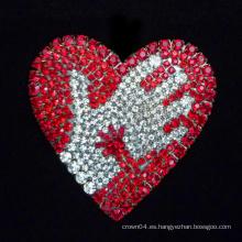 Broches de epoxy del ramillete del Rhinestone de las broches de la manera del broche del corazón de las señoras rojas de la manera