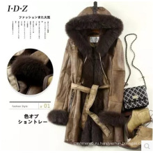 Моды ягненка кожи и меха одежда женщин длинные стиль с капюшоном