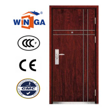 Porte blindée en placage en bois MDF en acier de sécurité de conception simple (W-A17)