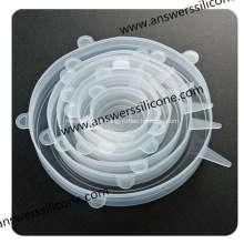 BPA Free6PCS Tampas extensíveis de silicone flexível para alimentos