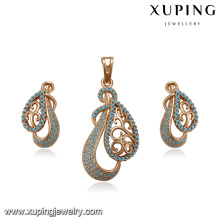 64210 xuping best selling turkish style copper alloy earring and pendant gold plated jewelry sets