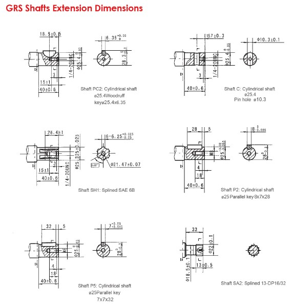 GRs Shafts Extension Dimensions