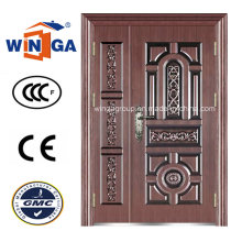 Puerta de cobre de acero metálico del hierro de la seguridad del estilo antiguo (W-STZ-06)