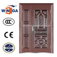 Antique Style Extérieur de sécurité en acier métallisé en acier porte en cuivre (W-STZ-06)