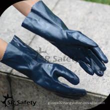 SRSAFETY black long cuff nitrile industrial glove supplier/interlock liner full coated black nitrile