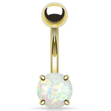 Opal Glitter Prong Set Gold Curved Barbell