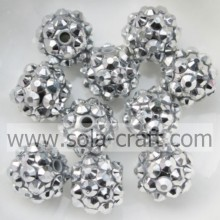 10*12MM Wholesale Resin Rhinestone Beads With Silver Rhinestone For Bracelets