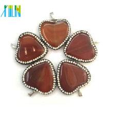 productos nuevos fabricación de joyas suministros colgante en forma de corazón de ágata