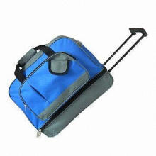 Trolley bag, 600D polyester, large compartment closed by double zipper puller
