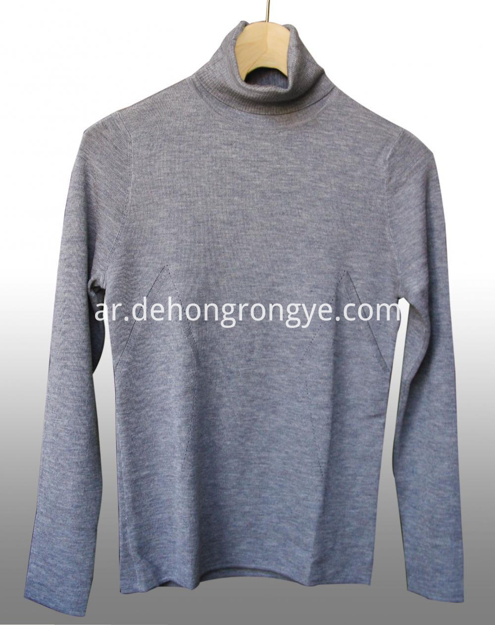 Grey High Collar Worsted Cashmere Pullover