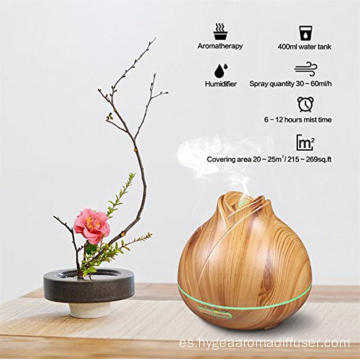 Atomizador de niebla Natural Oil Wood Grain Humidifier 400ml