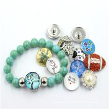 Diseño de la joyería de la perla del botón del broche de presión para las muchachas 2016 Pulsera de la manera