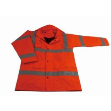 High Visibility Work Safety Rain Coat with Reflective Tape