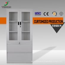 As portas de vidro de KD 2 arquivam o uso do escritório do armário de aço / armário de armazenamento usado do aço