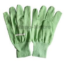 NMSAFETY amostra grátis luva verde jardim / luva de algodão com mini pontos de PVC na luva de trabalho de palma